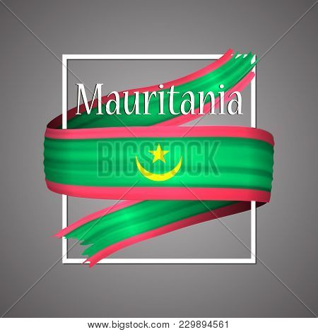 Mauritania Flag. Official National Colors. Mauritanian 3d Realistic Ribbon. Isolated Waving Vector G