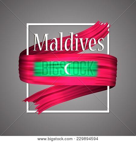 Maldives Flag. Official National Colors. Maldives 3d Realistic Ribbon. Isolated Waving Vector Glory