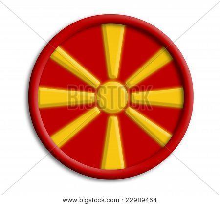 Macedonia button shield on white background