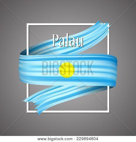 Palau Flag. Official National Colors. Palauan 3d Realistic Ribbon. Isolated Waving Vector Glory Flag