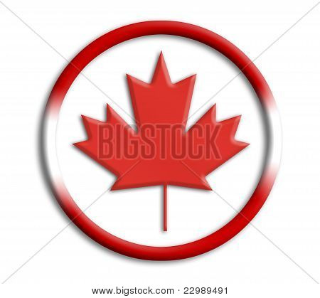 Canada button shield on white background