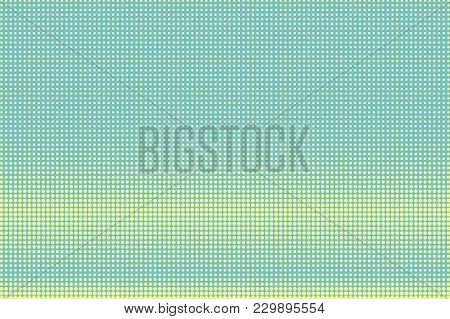 Green Yellow Dotted Halftone. Horizontal Contras Dotted Gradient. Half Tone Vector Background. Artif