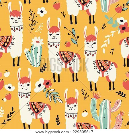 White Llama Seamless Pattern With Lovely Llamas, Flowers And Cacti In Vector.
