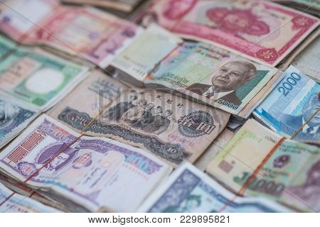 International Asian Banknote On Currency Exchange Shop