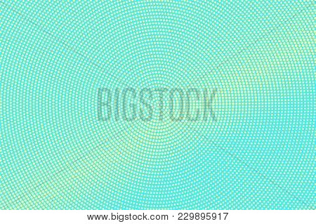 Turquoise Yellow Dotted Halftone. Subtle Centered Dotted Gradient. Half Tone Vector Background. Arti