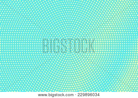 Turquoise Yellow Dotted Halftone. Centered Grungy Dotted Gradient. Half Tone Vector Background. Arti