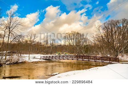 High Water Comes Up Almost To A Pedestrian Bridge Over Tinkers Creek In A Twinsburg Ohio Park
