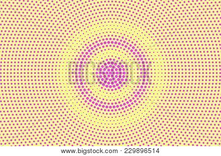 Yellow Pink Dotted Halftone. Radial Contrast Dotted Gradient. Half Tone Vector Background. Artificia