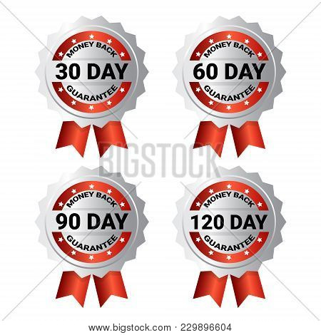 Set Of Medals Money Back Guarantee Template Labels With Ribbon Stickers Collection Isolated Vector I