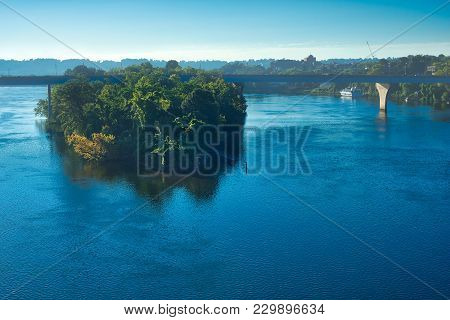 A Small Island In The Tennessee River At Chattanooga In Early Morning Light