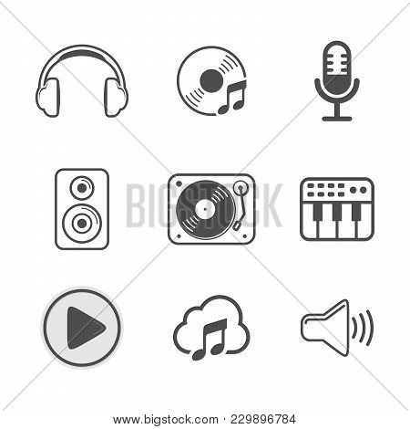 Audio Icon Set White Version Vector Symbol Graphic Logo Design