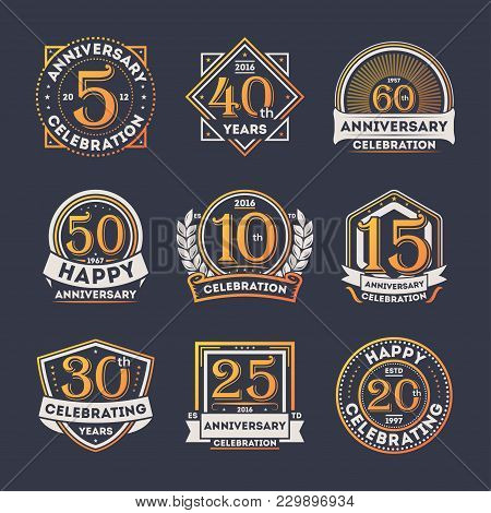 Anniversary Celebration Retro Isolated Label Set Illustration. Birthday Party Logo, Holiday Festive