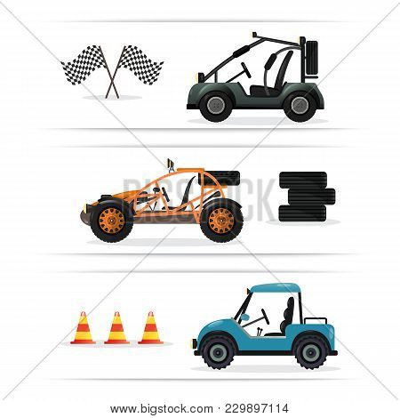 Off Road Buggy Car Set Isolated On White Background Illustration. Terrain Vehicle, Motorbike, Dune B