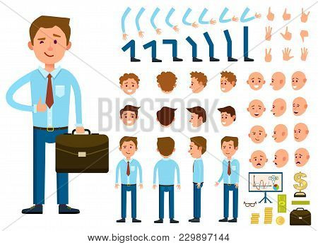 Businessman Character Creation Set Isolated Illustration. Male Person Constructor With Various Gestu