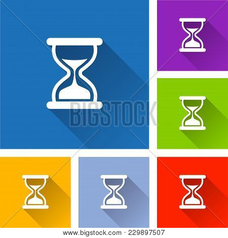 Illustration Of Hourglass Icons With Long Shadow