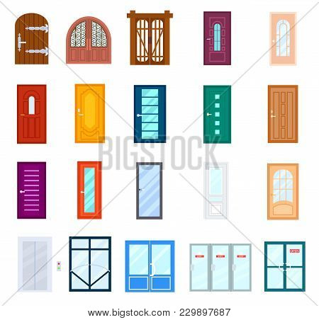 Entrance Door Set Isolated On White Background Illustration. Modern Entrance Door For Office, Home,