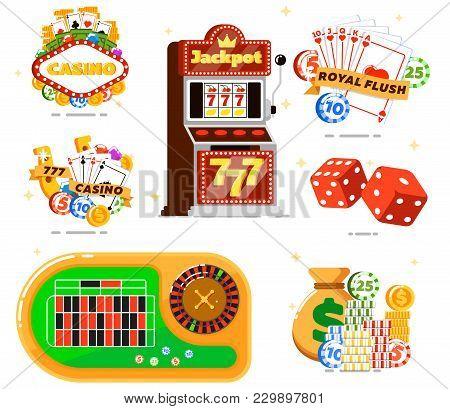 Casino Set With Poker Club Isolated Illustration. Casino Slot Machine, Dice, Playing Cards, Poker Ga