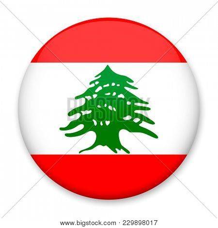 Flag of Lebanon in the form of a round button with a light glare and a shadow.