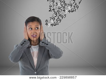 Digital composite of frustrated woman doing calculations