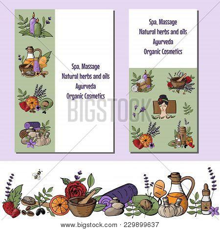 Set Of  Vector Illustration With Cartoon Spa, Massage, Organic Cosmetics, Ayurveda, Natural Herbs An