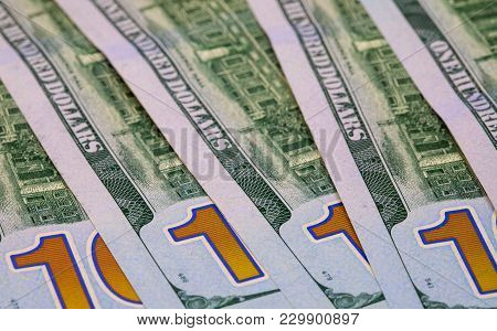 United States Dollar Banknotes. Cash Money Closeup Photo. Currency Background. Business Success And