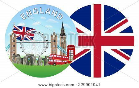 England Flag And Landmark Round Logo Vector