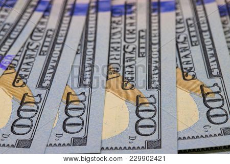 Hundred Dollar Perspective. Cash Money Closeup Photo. Currency Background. Business Success And Prof