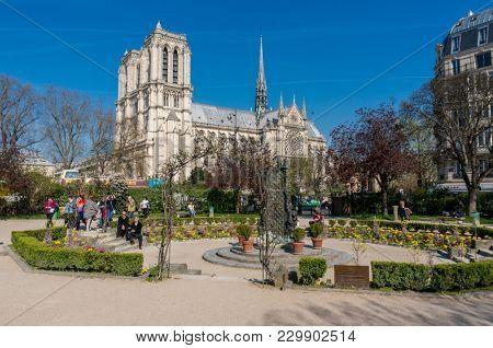 Paris, France, March 27 2017: Notre Dame Cathedral or Notre-Dame de Paris - a Catholic church in the center of Paris
