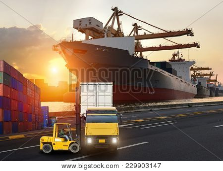 Truck Transport Container On The Road To The Port, Industrial Container Cargo Freight Ship For Logis