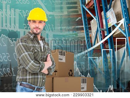 Digital composite of man with box in warehouse, transition and graph