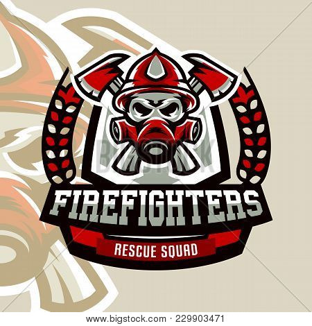 Colorful Logo, Emblem, Sticker, Fireman And Dangerous Job. Lethal Task, A Dangerous Profession, Skul
