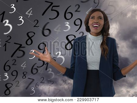 Digital composite of Frustrated woman in front of numbers