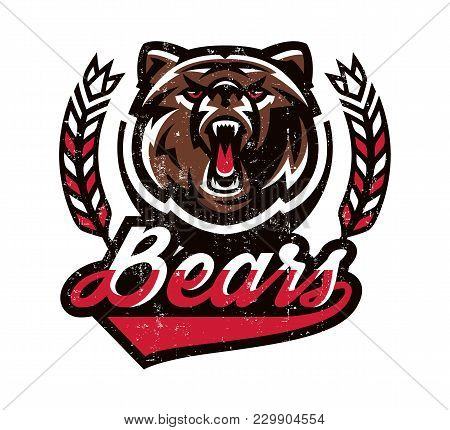 Design For Printing On T-shirts, Aggressive Bear Ready To Attack. Predator Of The Forest, Dangerous