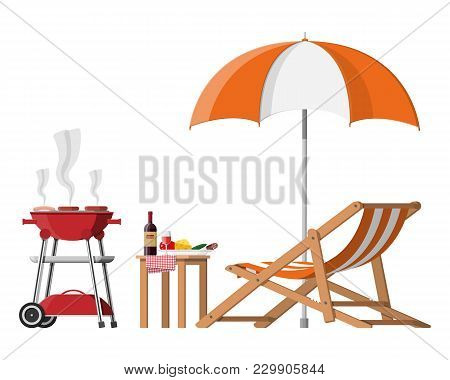 Bbq Party. Sun Lounger, Table With Bottle Of Wine, Vegetables And Cheese, Electric Grill With Barbec
