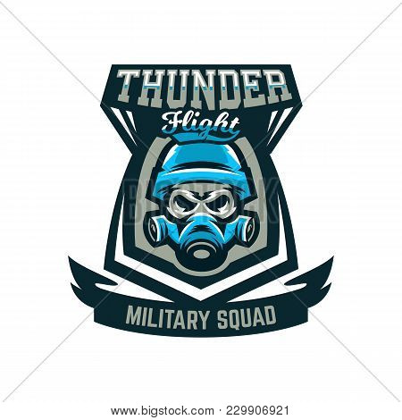 Colorful Emblem, Logo, Military Skull In Helmet And Gas Mask. Military Actions, Conflict, War, Soldi