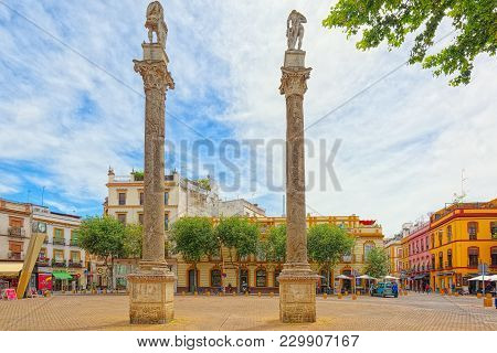 Column Alameda De Hercules In Downtown Of The City Seville - Is