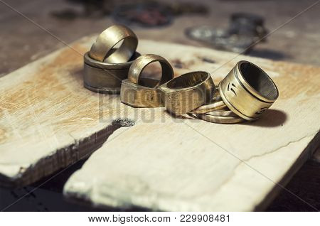 The Work Of Jewelers. Trial Jewelry Of Semiprecious Metals. A Set Of Jewellery. Selective Focus. Mac