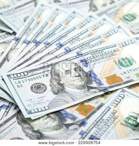Background With Money American Hundred Dollar Bills. Money Background
