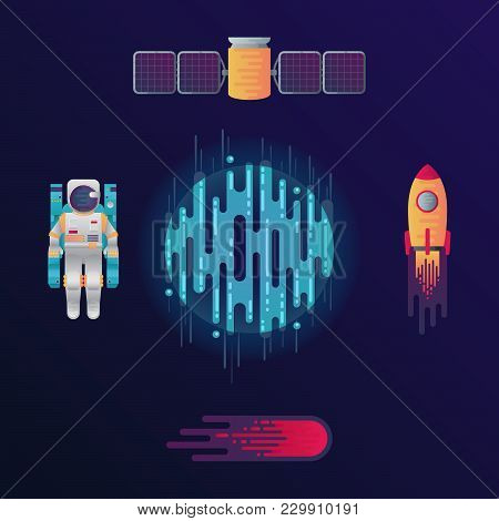 Vector Illustration Of Sci-fi Planet, Rocket, Astronaut, Space Satellite And Meteor Or Comet With So