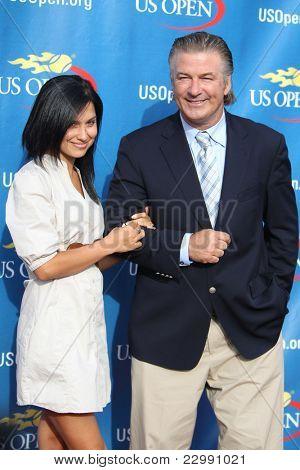 FLUSHING, NY - AUGUST 29: Alec Baldwin and Hilaria Thomas attend 2011 US Open opening night ceremonies at the USTA Billie Jean King National Tennis Center on August 29, 2011 in Flushing, New York.