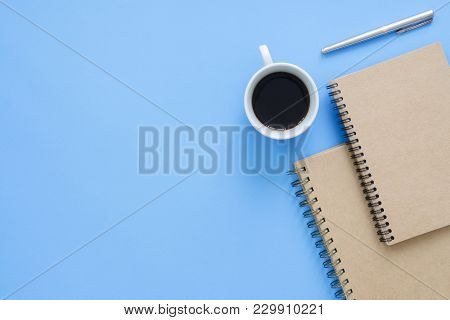 Office Desk Working Space - Flat Lay Top View Mockup Photo Of A Working Space With Cup Of Coffee, No