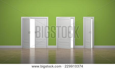 Opened thick and thin doors. Enter and Exit. Business concept. Green. 3d illustration