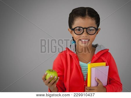 Digital composite of Girl against grey background with apple and books and glasses