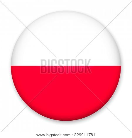 Flag of Poland in the form of a round button with a light glare and a shadow.