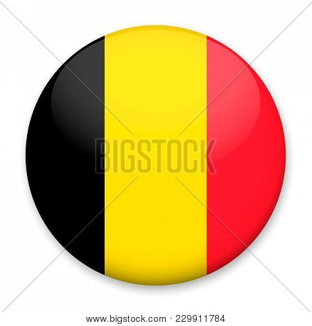 Flag of Belgium in the form of a round button with a light glare and a shadow.