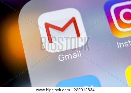 Sankt-petersburg, Russia, March 7, 2018: Google Gmail Application Icon On Apple Iphone X Smartphone