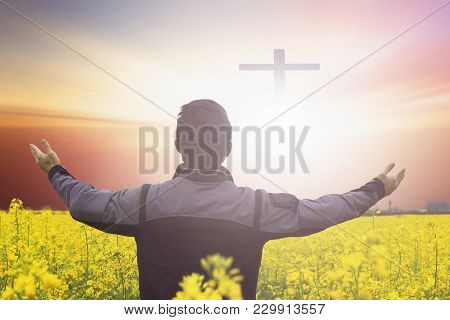 Silhouette Freedom Man Rise Hands Up Inspire Good Morning. Christian Worship Praise God In Thanksgiv