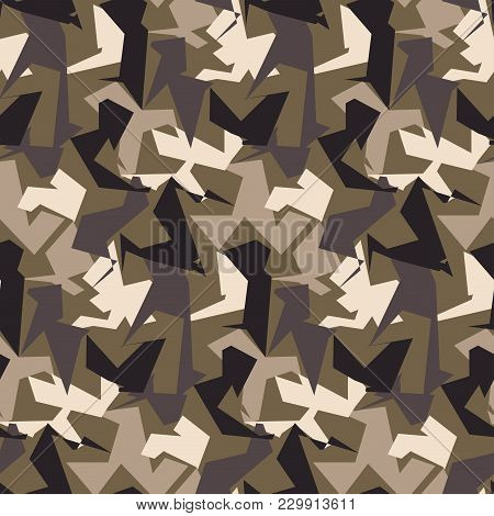 Abstract Military Camouflage Seamless Background. Pattern Of Camo Geometric Triangles Shapes For Arm