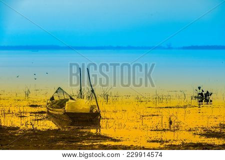 Old Wooden Fishing Boats Siem Reap Thailand