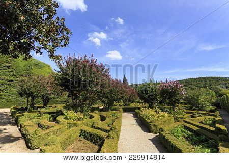 Vila Real, Portugal - September 22, 2017: Spectacular French Style Garden Made Up Of Tailored Boxwoo